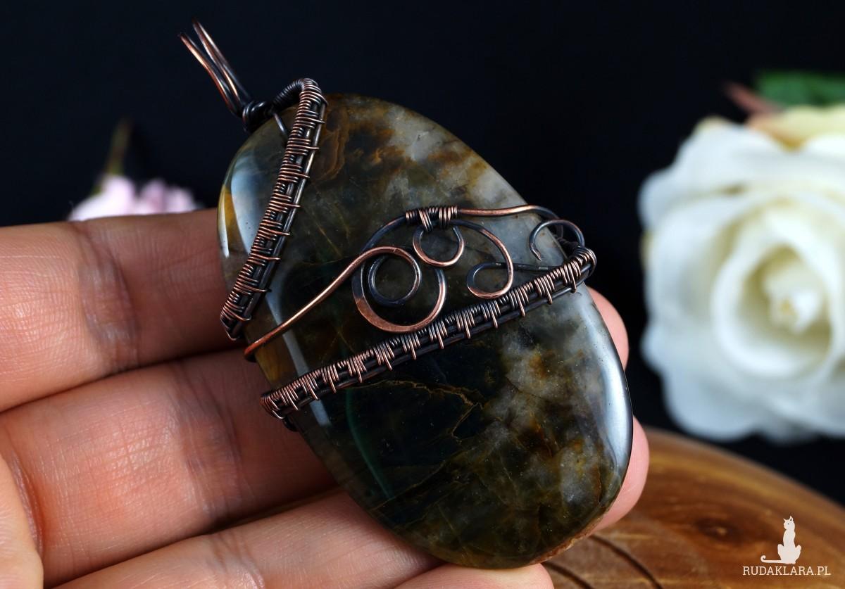 Pietersyt, Miedziany wisior z pietersytem, ręcznie wykonany, prezent dla niej, prezent dla mamy, prezent urodzinowy, unisex, wire wrapped