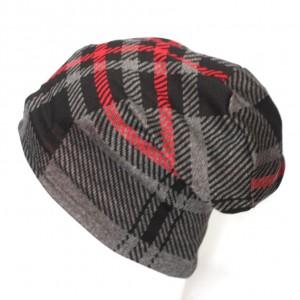 czapka damska dzianinowa w kratkę