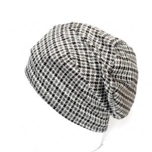 czapka dzianinowa unisex w kratkę