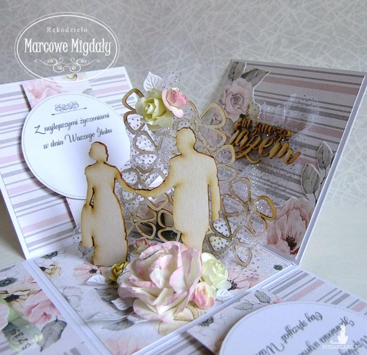 Ślubny exploding box Spacer Zakochanych, kartka na ślub