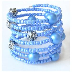 3947 niebieska bransoletka szklane pereły