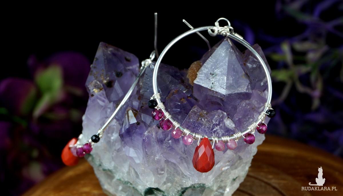 Kwarc, Srebrne kolczyki z kwarcem, turmalinem, rubinem i onyksem, ręcznie wykonane, prezent dla niej, prezent dla mamy prezent urodzinowy