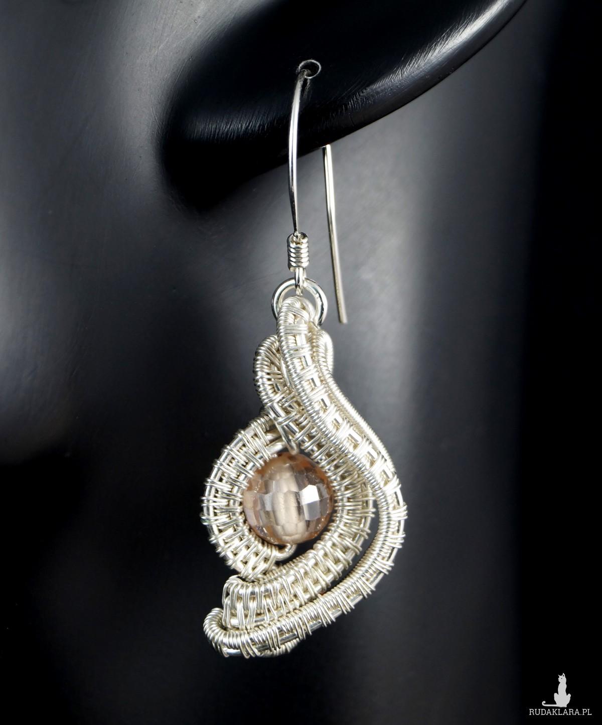 Cyrkonia, Srebrne kolczyki w kształcie oka z cyrkonią, ręcznie wykonane, prezent dla niej, prezent dla mamy, prezent urodzinowy, biżuteria
