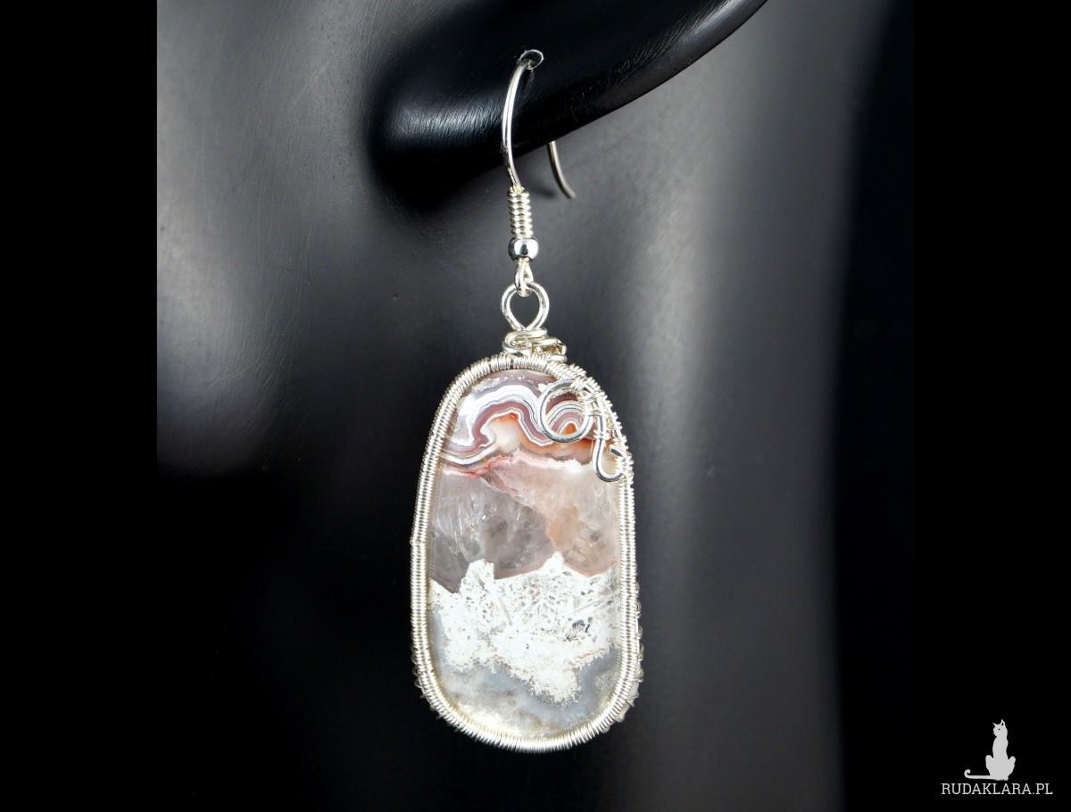 Agat Koronkowy Crazy Lace, Srebrne kolczyki z agatem, ręcznie wykonane, prezent dla niej, prezent dla mamy, prezent urodzinowy, biżuteria