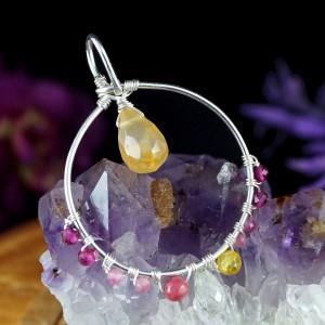 Cytryn, Srebrny wisiorek z kroplą cytrynu, ręcznie wykonany, prezent dla niej, prezent dla mamy, prezent urodzinowy, biżuteria autorska