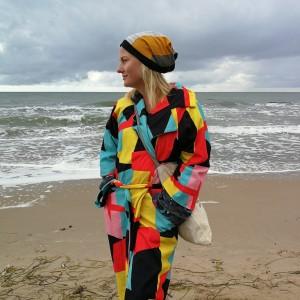 czapka damska patchworkowa na podszewce handmade