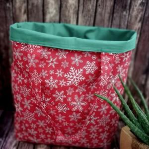 Eko,torba damska na zakupy,czerwona w śnieżynki.