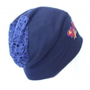 czapka granatowa z motylem