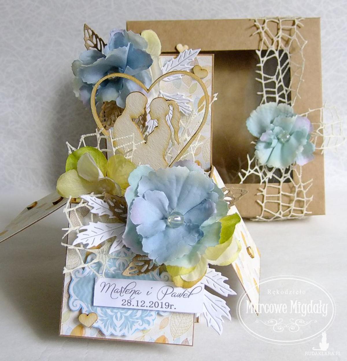 Personalizowana pamiątka ślubu lub rocznicy W Hortensjach, kartka w pudełku