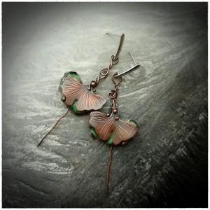 Kolczyki - Liście Ginkgo