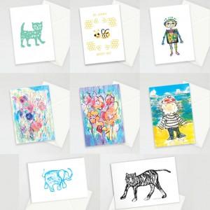 ładne kartki, kartki dla dzieci, śmieszne kartki, zestaw 8 kartek na różne okazje, podziękowania dla gości