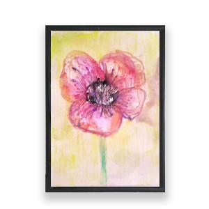 dekoracja do pokoju, oprawiona akwarela, mak obrazek, mały obraz kwiat, malowany ręcznie obrazek