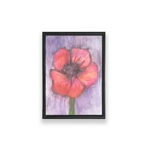 mały obraz z kwiatkiem, dekoracja na meble, mała akwarela, mak obrazek, malowany ręcznie obraz w ramce