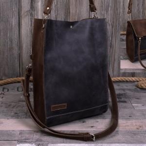 Ręcznie robiona skórzana torebka szaro-brązowa, skórzana torebka,