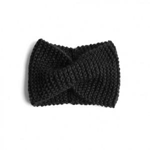 Czarna opaska w stylu retro unisex one size robiona na drutach