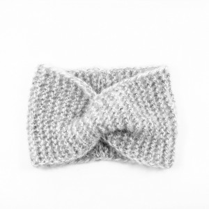 Perłowo-szara opaska w stylu retro one size robiona na drutach