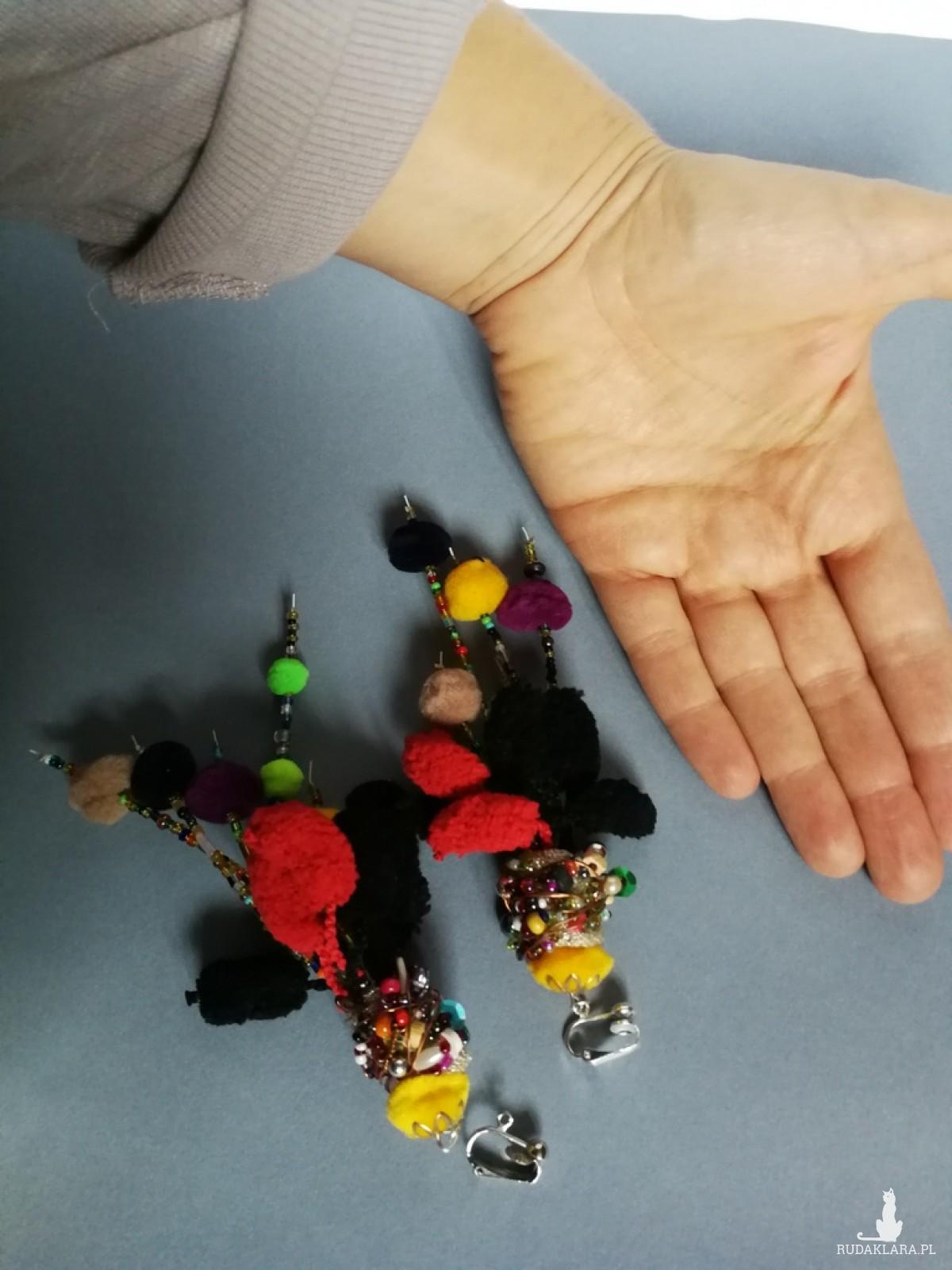 klipsy kolorowe etno boho folk