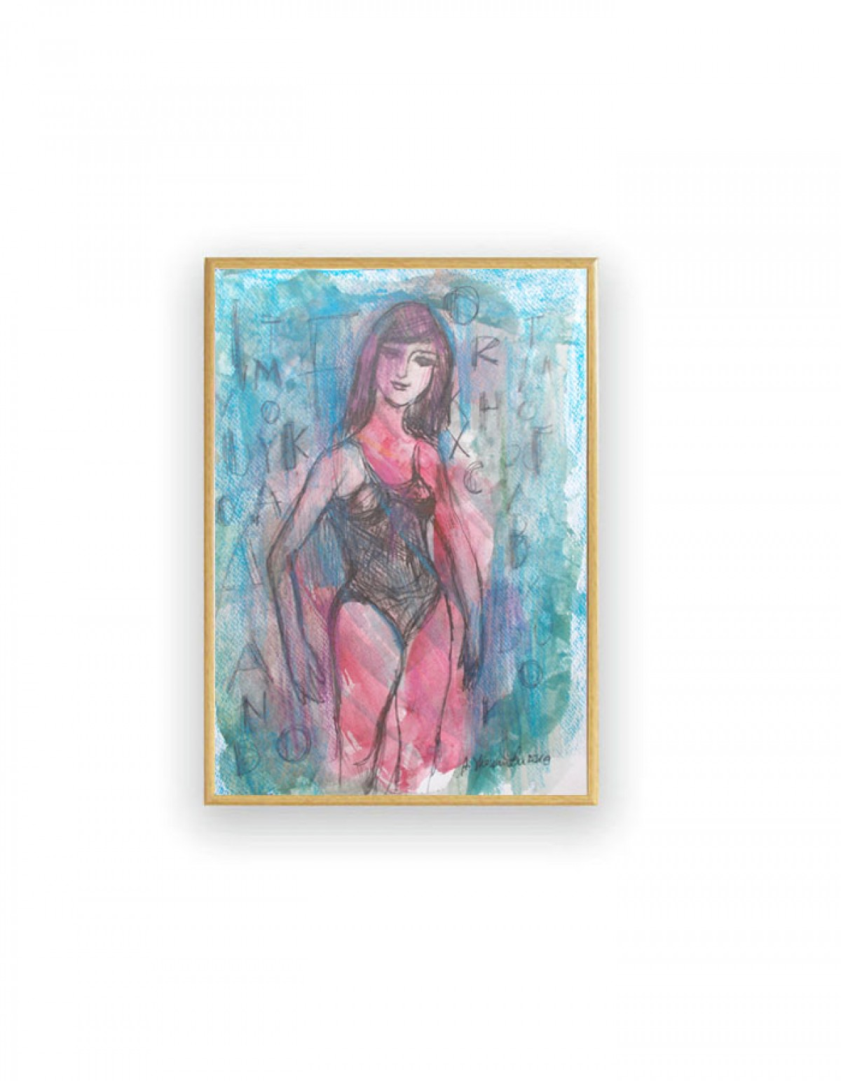 oprawiony rysunek, grafika malowana ręcznie, manekin rysunek