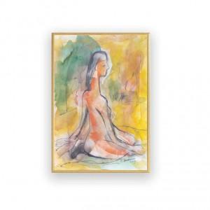akwarela w ciepłych kolorach,  ładny rysunek do sypialni, akt obraz, szkic w ramce, malowany ręcznie akt, mały obraz z kobietą