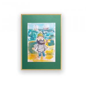 szary obraz do pokoju, skandynawski rysunek do sypialni, minimalizm grafika na ścianę, oprawiony szkic z kwiatkiem