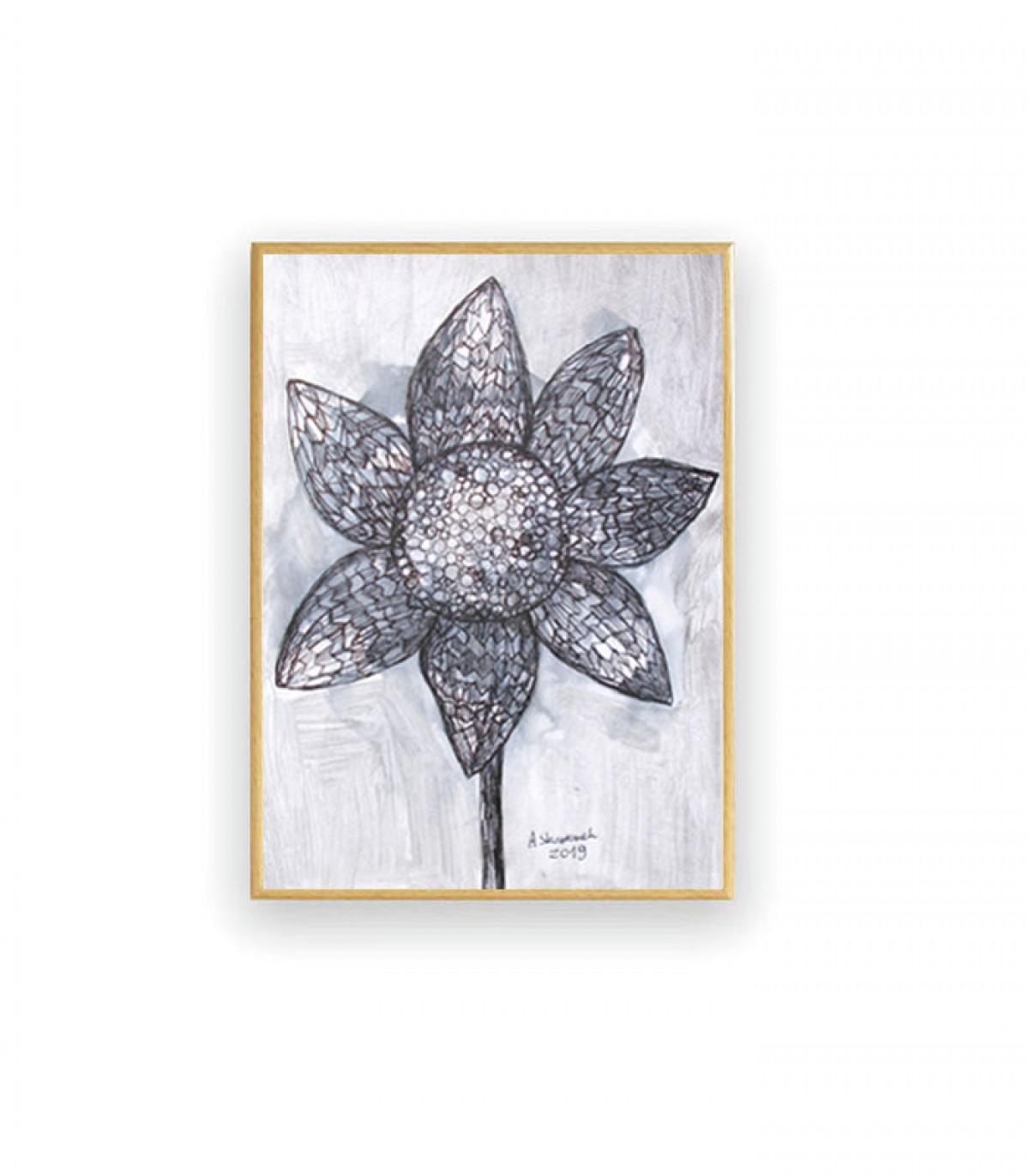 oprawiony rysunek, malowany ręcznie obrazek, czarno-biała grafika