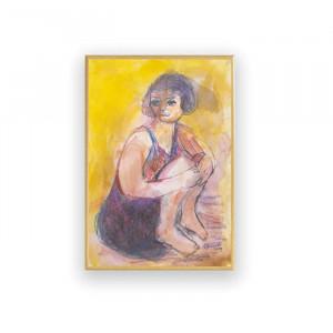 szary obraz pokoju, oprawiony rysunek,  nowoczesna grafika z kwiatkiem, mały obraz w skandynawskim stylu