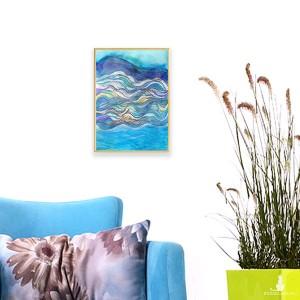mały obraz abstrakcyjny, abstrakcja rysunek do pokoju, nowoczesna grafika z morzem, oprawiony szkic morski