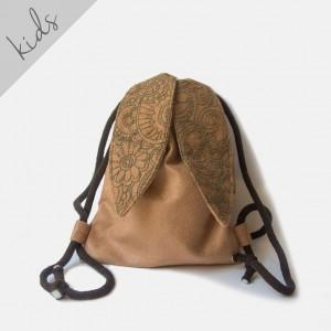 Mini plecak beżowy króliczek haftem
