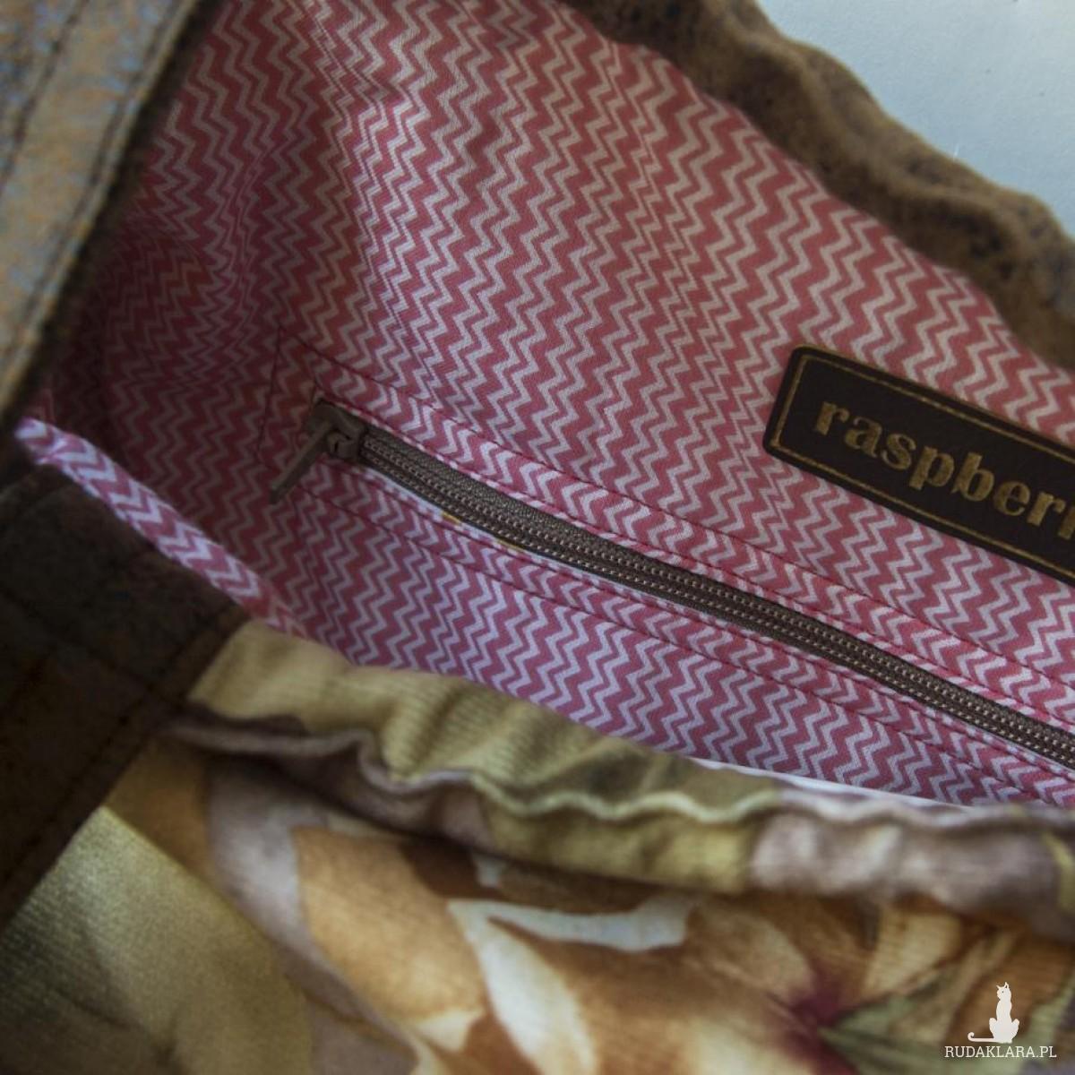 Plecak torba 2w1 skórzana w kwiaty