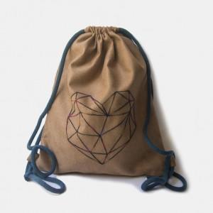 Plecak worek z geometrycznym sercem