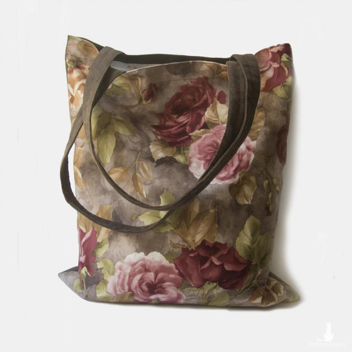 Duża torba na ramię z kwiatowym wzorem