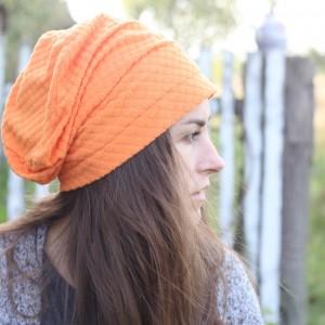 czapka pomarańczowa na podszewce