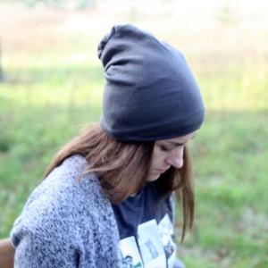 czapka unisex dzianina swetrowa szara