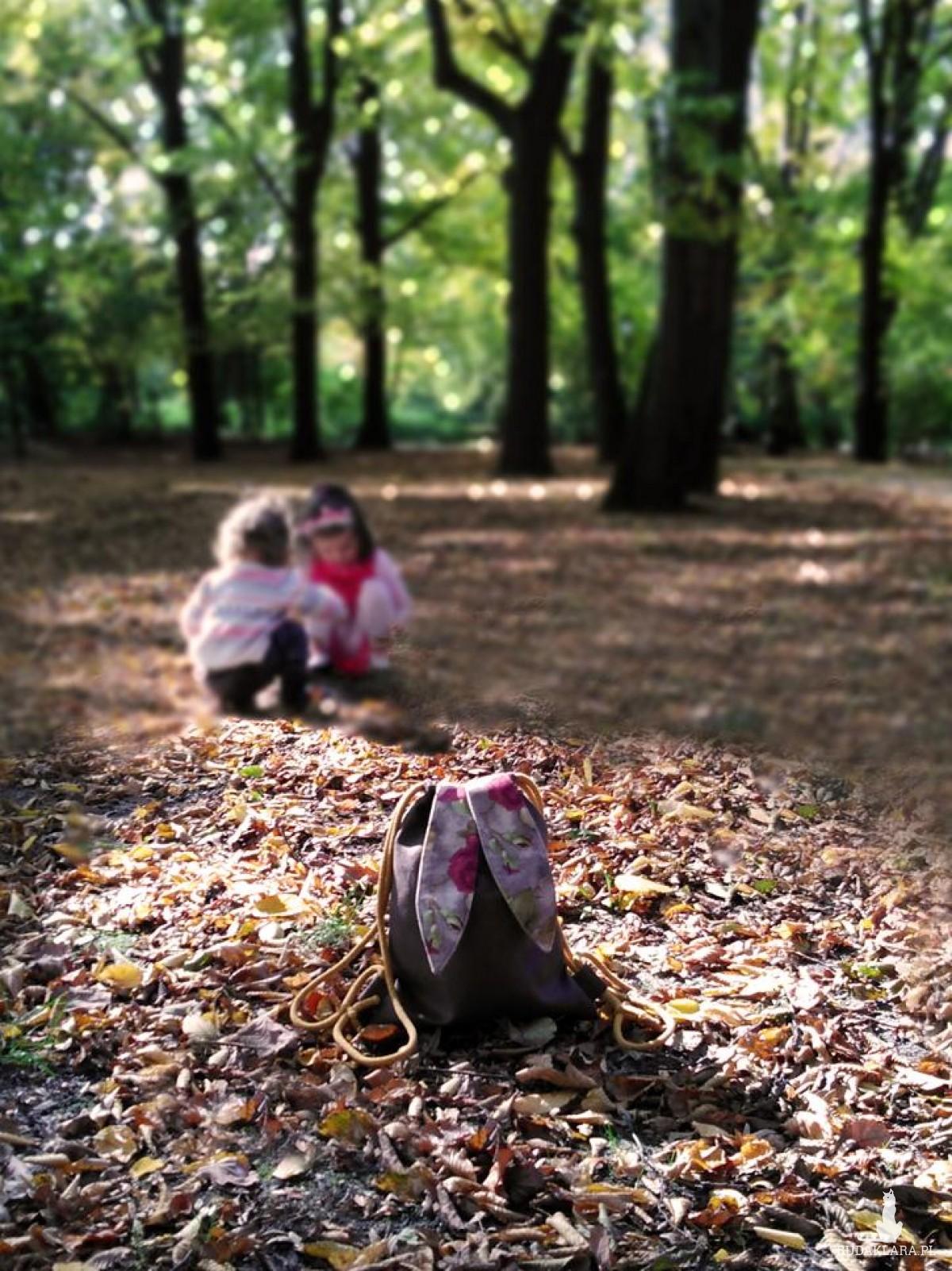 Dziecięcy plecak królik z uszami w kwiaty