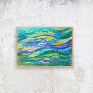 morze rysunek do pokoju, abstrakcja malowana ręcznie, morski obraz, mały obraz z morzem, oprawiona grafika morska