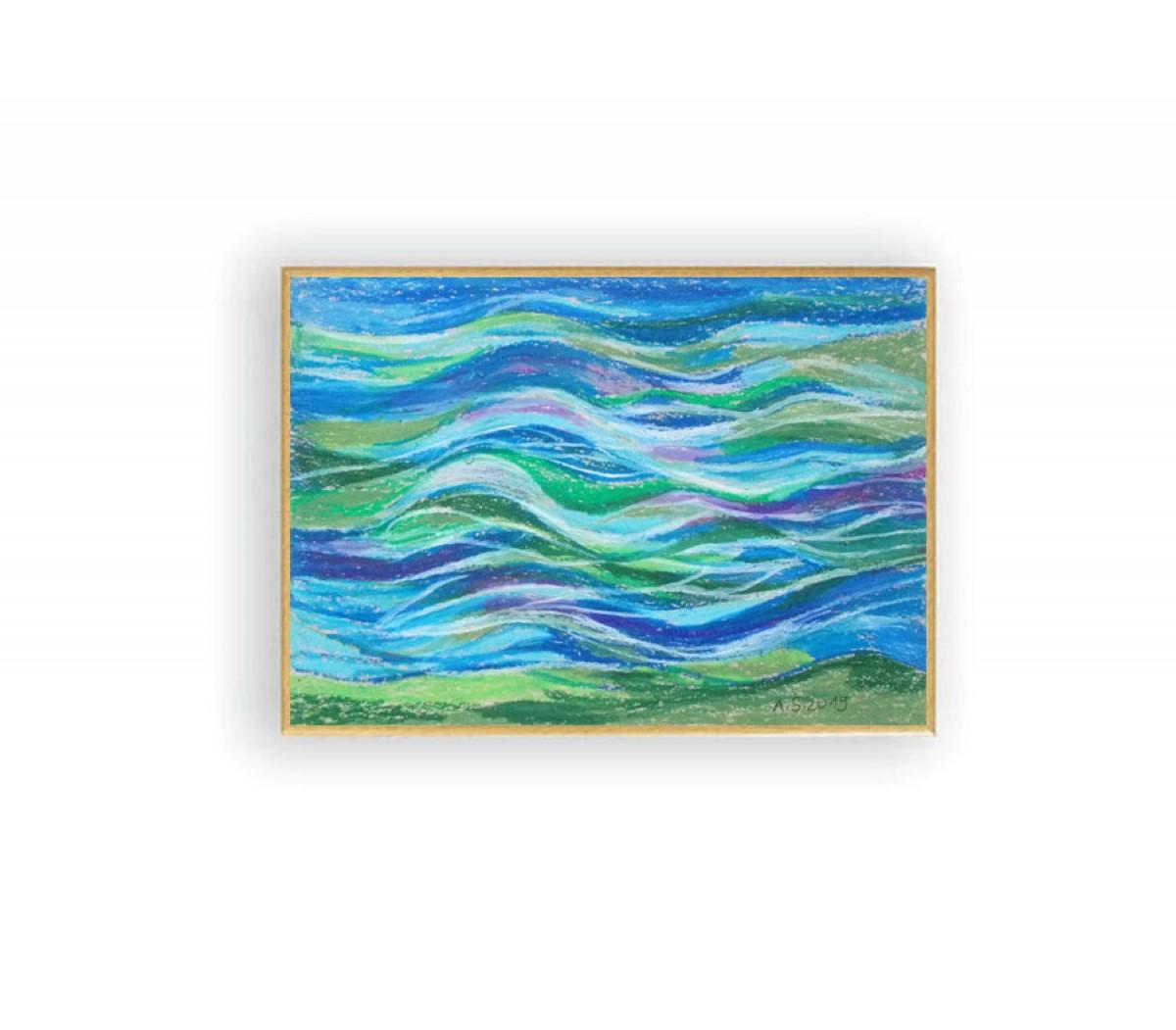 oprawiony rysunek z morzem, abstrakcyjny obraz, mały obraz do pokoju