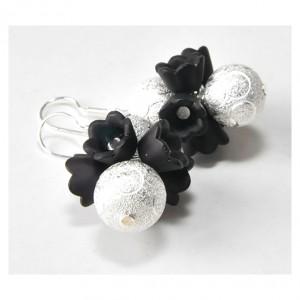 3998 kolczyki czarne kwiaty srebro 5 cm