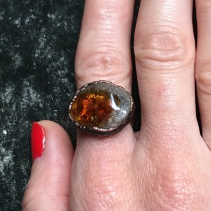 miedziany pierścionek z cytrynem r.12