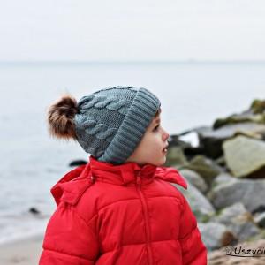 Czapka zimowa z pomponem, czapka na zimę, ciepła czapka szara