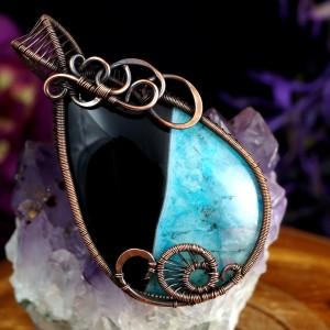 Czarny agat, Miedziany wisior z agatem, ręcznie wykonany, prezent dla niej, prezent dla mamy, prezent urodzinowy, niepowtarzalna biżuteria