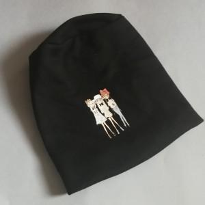 czapka damska czarna z dziewczynkami- box 44- na podszewce, dzianina, obwód głowy 59cm, polecam pojedyncza sztuka