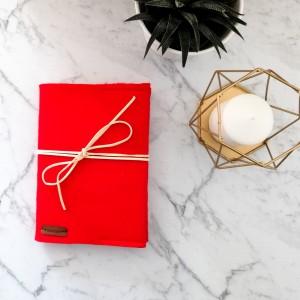 Notes w linie,filcowa okładka,czerwona.