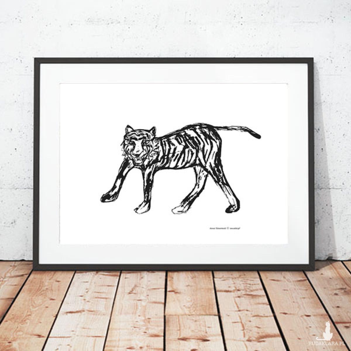 biało-czarny plakat z tygrysem, tygrys plakat, grafika z tygrysem