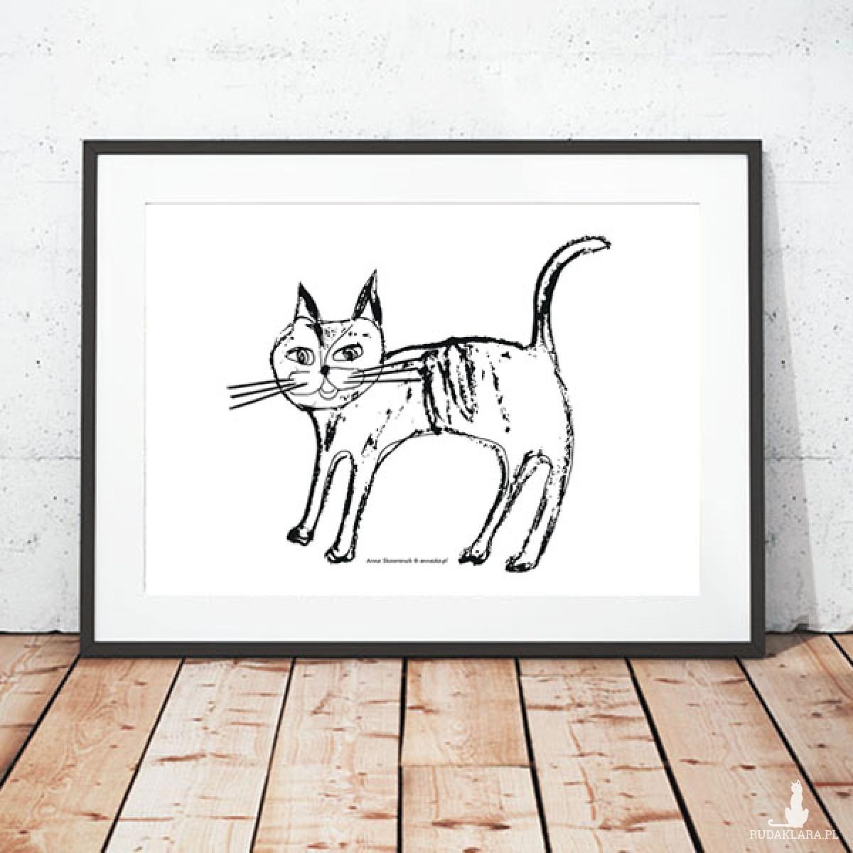 plakat z kotkiem, kotek plakat, biało czarny plakat, grafika z kotem
