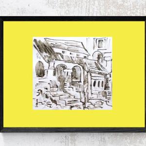 czarno-biała grafika z kobietą, plakat z dziewczyną