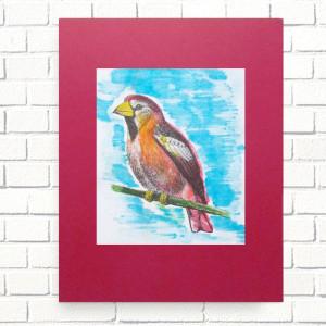plakat z ptaszkiem, czarno-biała grafika z ptakiem, ptaszek ilustracja