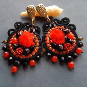Kolczyki sutasz czarno-czerwone