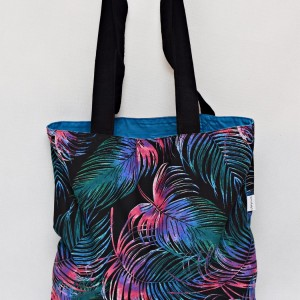 Torba na zakupy shopperka ekologiczna torba zakupowa na ramię eko siatka bawełniana pióra