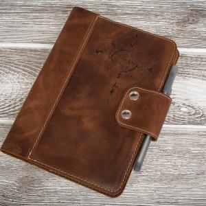 Ręcznie robiony skórzany notes, okładka na zeszyt format A5 skóra naturalna bydlęca.