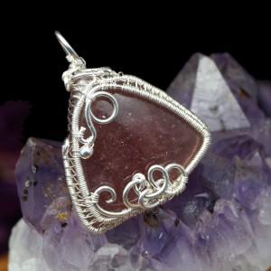 Kwarc, Srebrny wisior z kwarcem truskawkowym, prezent dla mamy, prezent dla żony, prezent dla niej, ręcznie robiona biżuteria